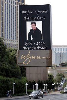 Danny Gans obit on Wynn Marquee
