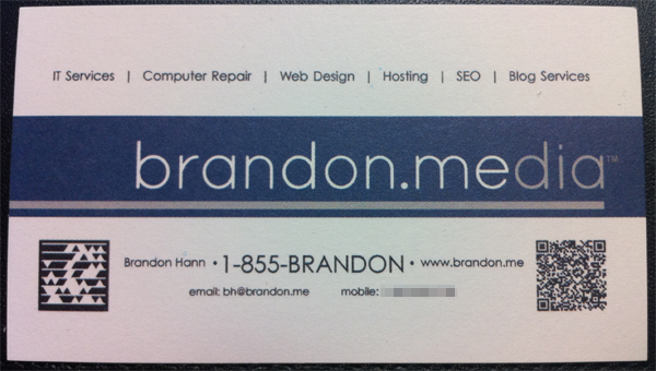 Brandon Media business card