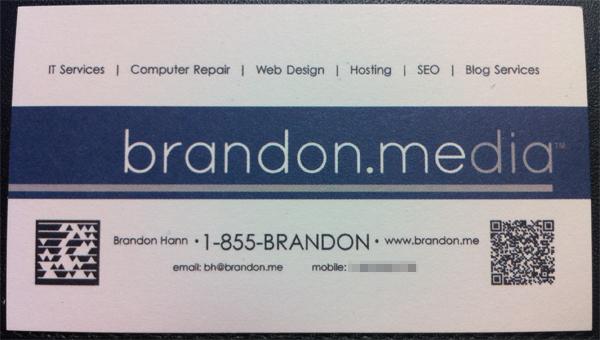 Brandon Media business card