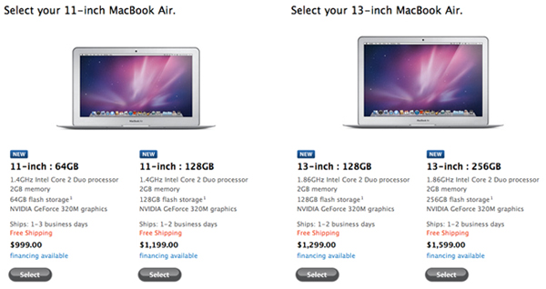 2010 MacBook Air models