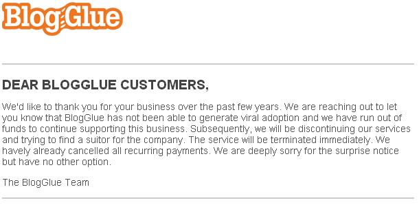 BlogGlue Closed