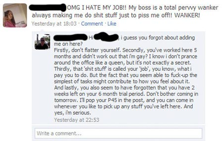 Employee gets fired on Facebook