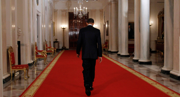 Obama walks away