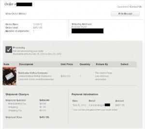 Starbucks gift card order status